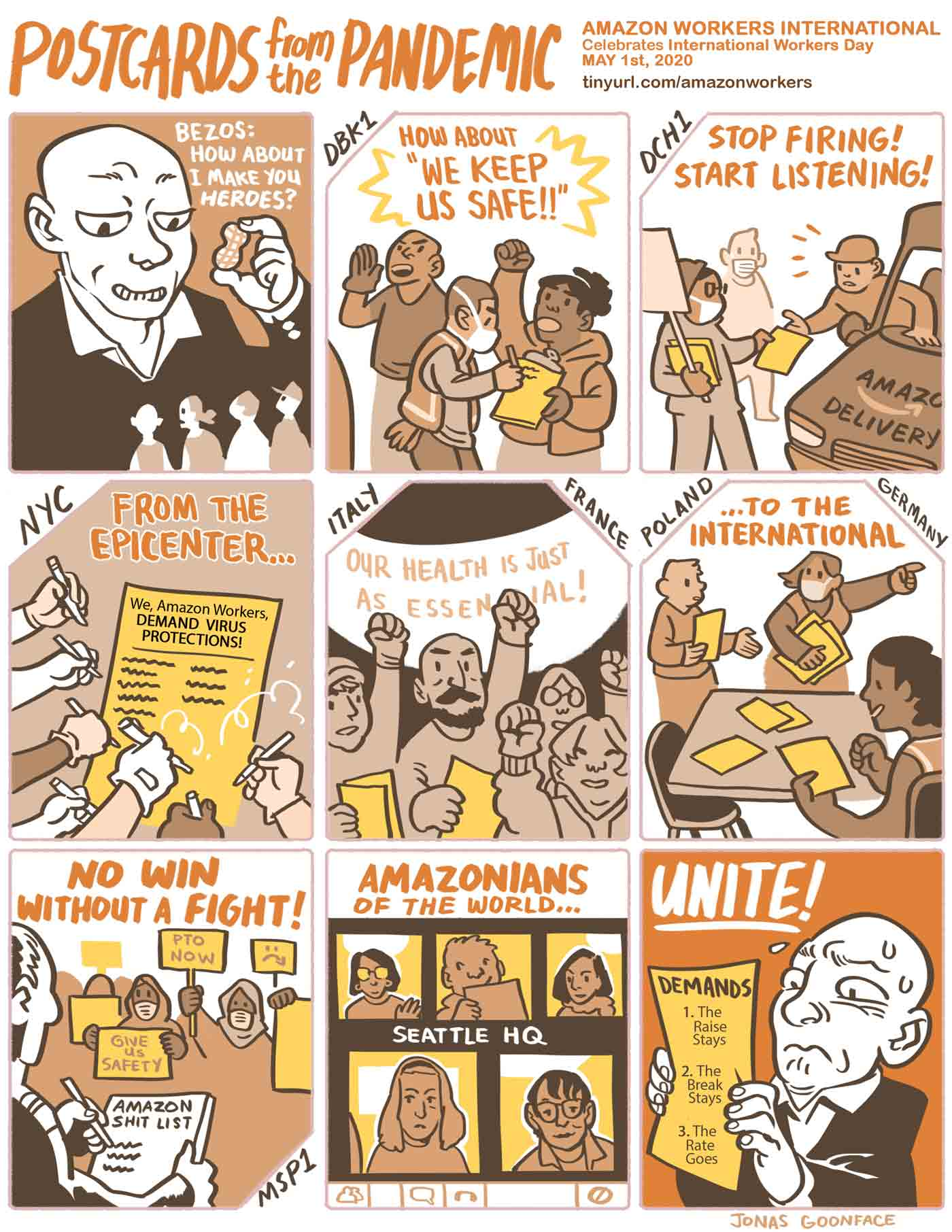 """Comic in English entitled """"Postcards from the Pandemic"""" for Amazon Workers International. Jeff Bezos offers workers the 'peanut' of calling the workers heroes. The workers counter with demands for safety. Amazonians of the World, Unite!"""