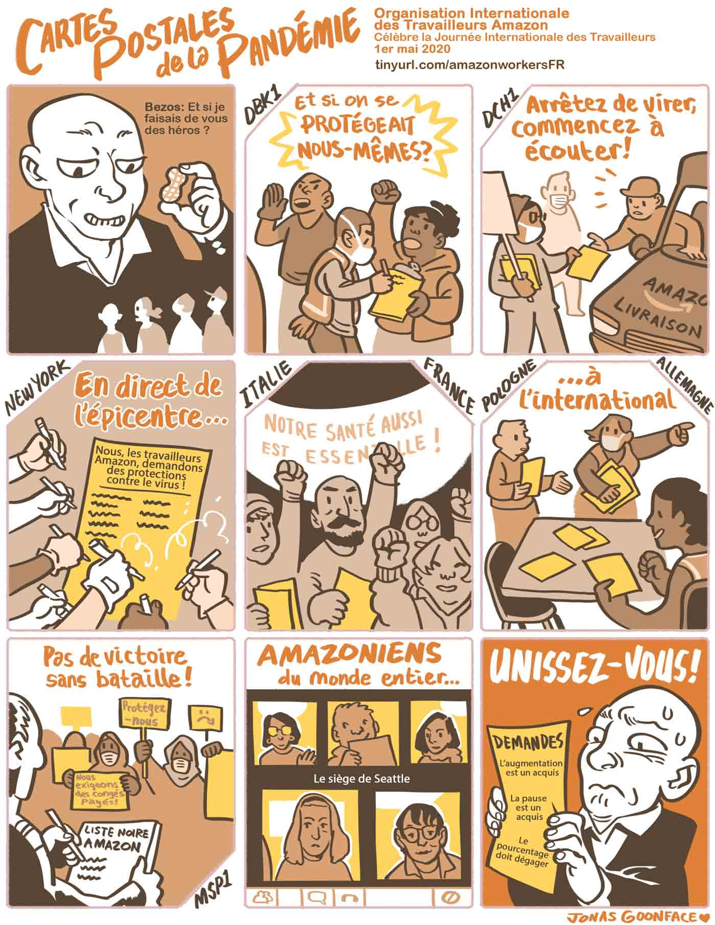 """Comic in French entitled """"Postcards from the Pandemic"""" for Amazon Workers International. Jeff Bezos offers workers the 'peanut' of calling the workers heroes. The workers counter with demands for safety. Amazonians of the World, Unite!"""