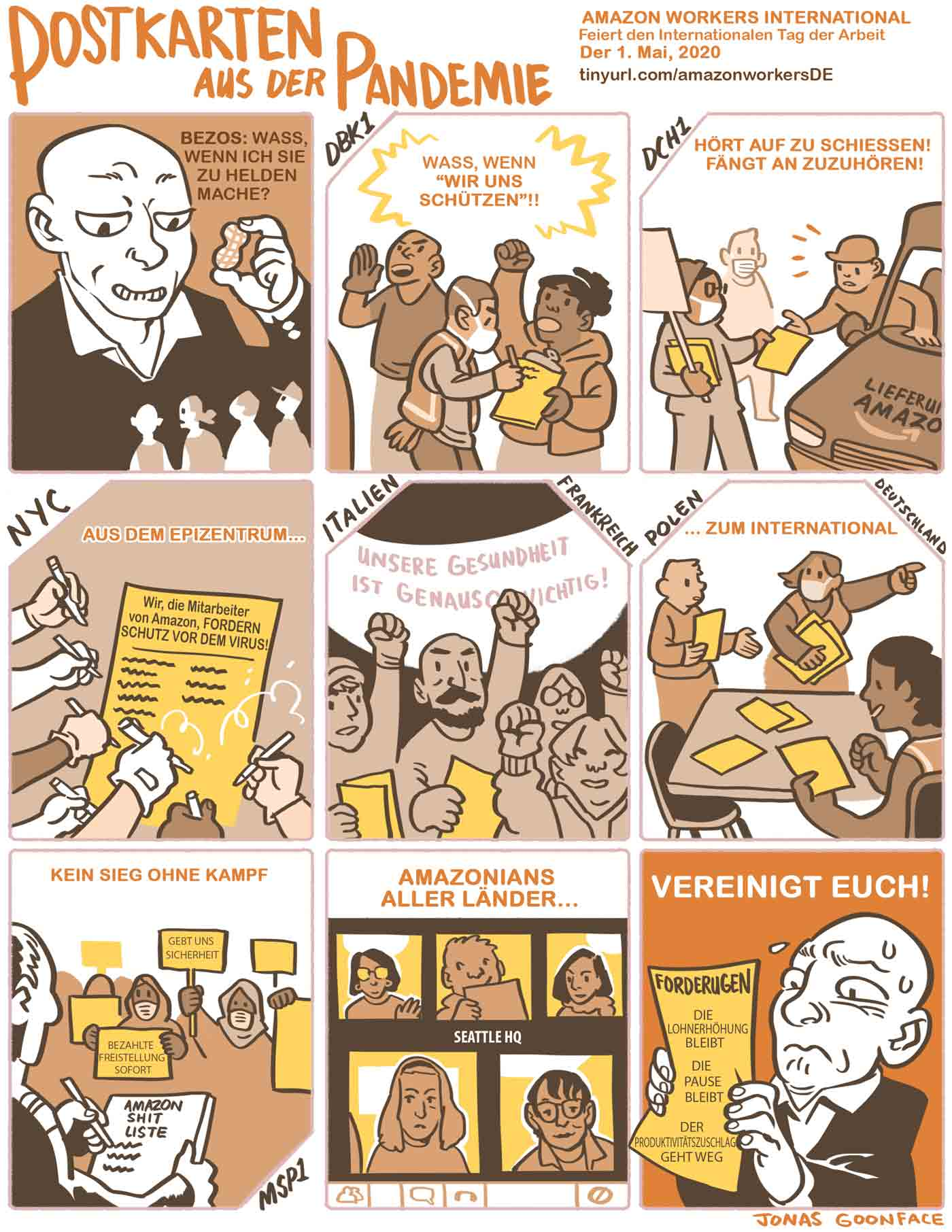 """Comic in German entitled """"Postcards from the Pandemic"""" for Amazon Workers International. Jeff Bezos offers workers the 'peanut' of calling the workers heroes. The workers counter with demands for safety. Amazonians of the World, Unite!"""