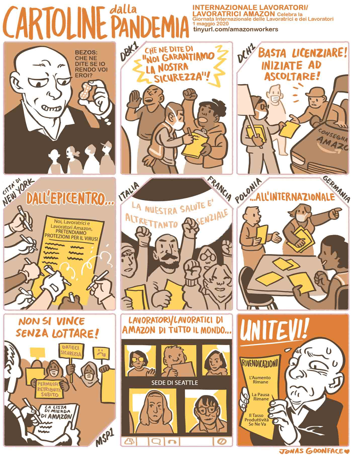 """Comic in Italian entitled """"Postcards from the Pandemic"""" for Amazon Workers International. Jeff Bezos offers workers the 'peanut' of calling the workers heroes. The workers counter with demands for safety. Amazonians of the World, Unite!"""