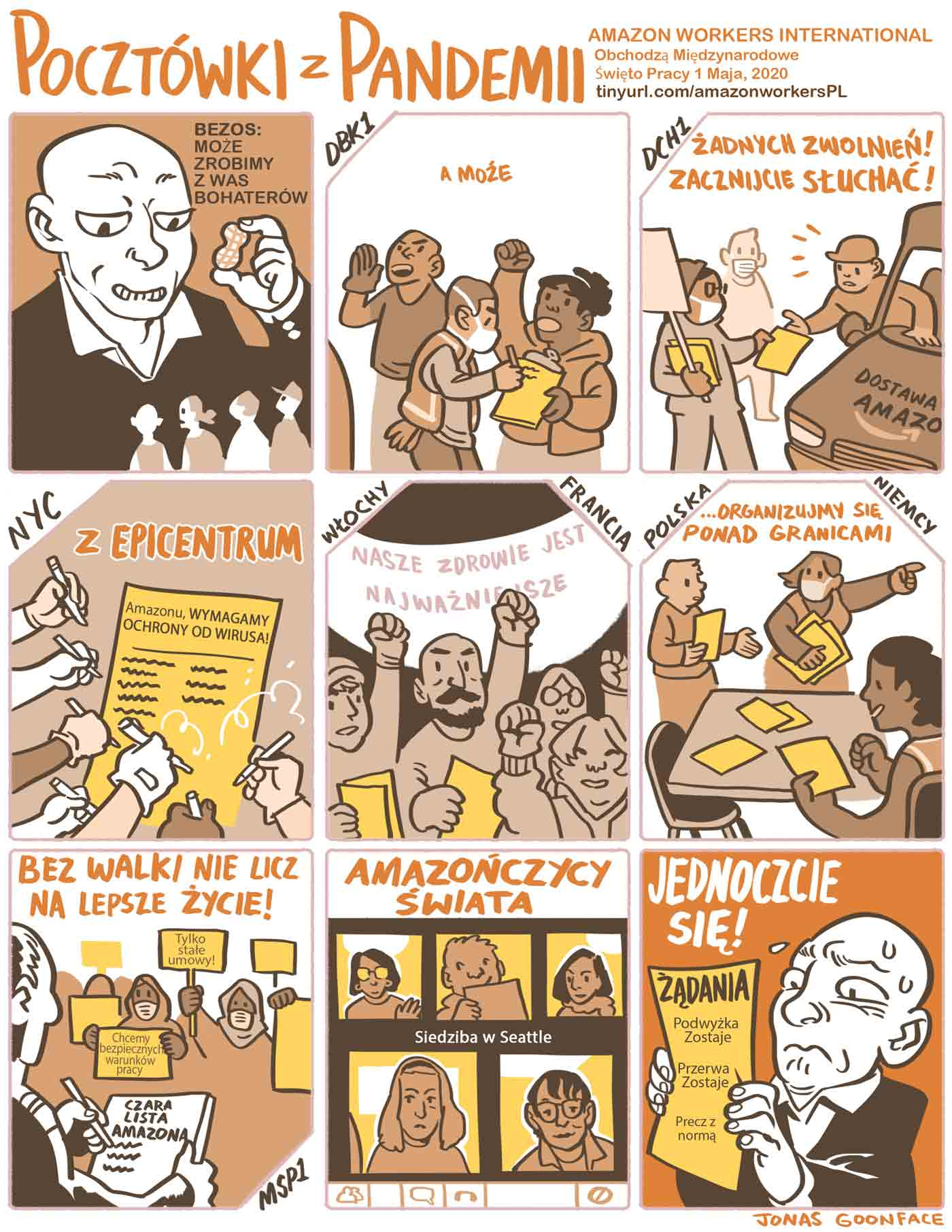 """Comic in Polish entitled """"Postcards from the Pandemic"""" for Amazon Workers International. Jeff Bezos offers workers the 'peanut' of calling the workers heroes. The workers counter with demands for safety. Amazonians of the World, Unite!"""
