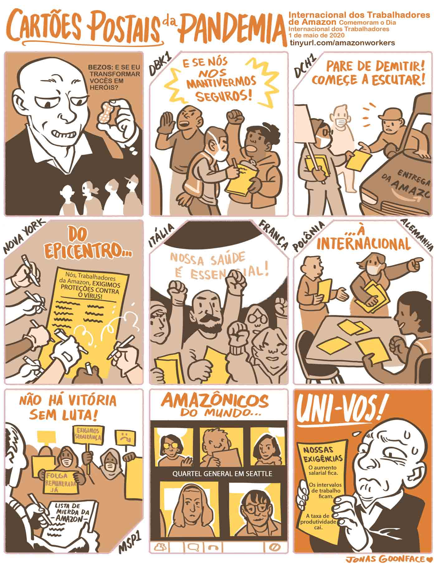 """Comic in Portuguese entitled """"Postcards from the Pandemic"""" for Amazon Workers International. Jeff Bezos offers workers the 'peanut' of calling the workers heroes. The workers counter with demands for safety. Amazonians of the World, Unite!"""