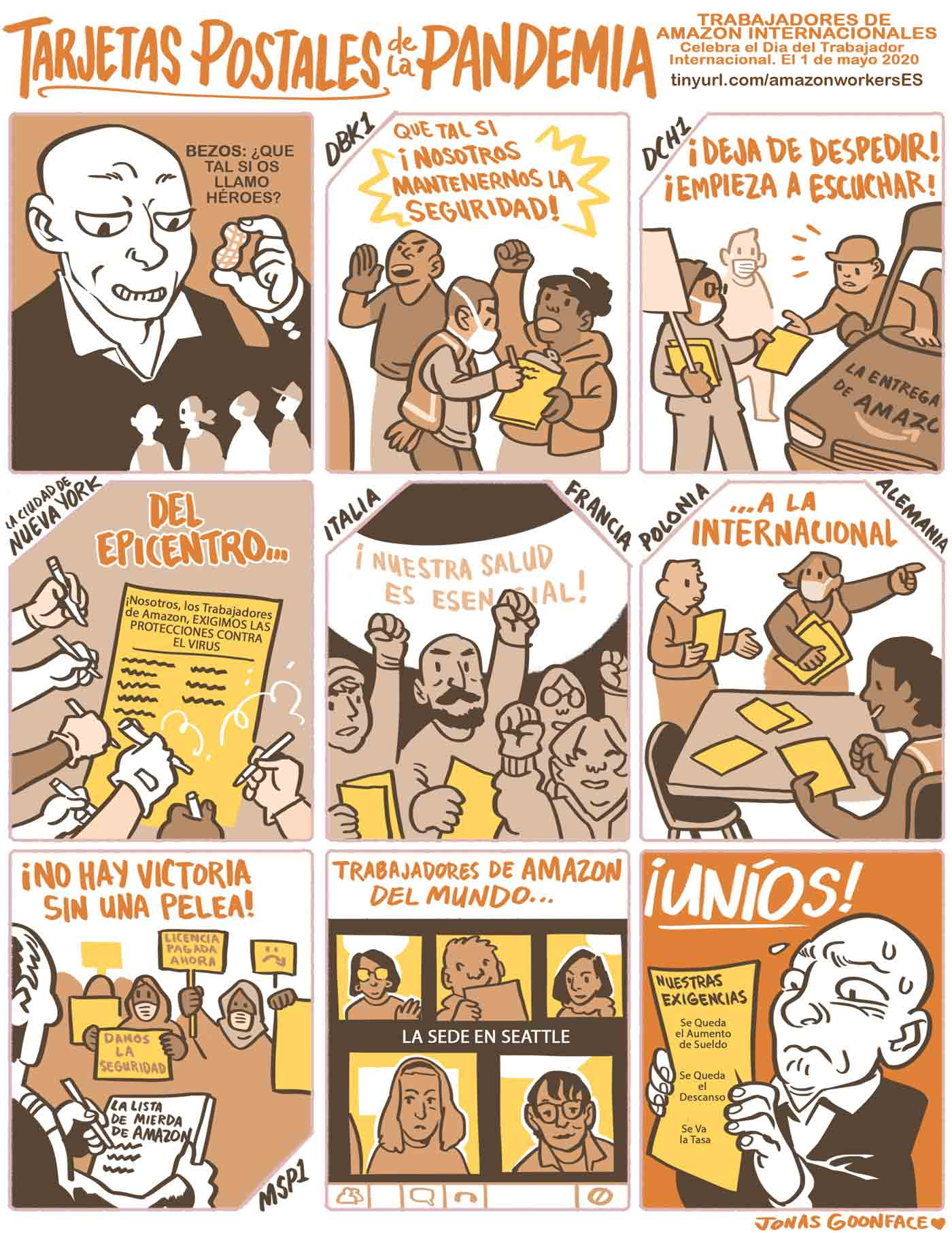 """Comic in Spanish entitled """"Postcards from the Pandemic"""" for Amazon Workers International. Jeff Bezos offers workers the 'peanut' of calling the workers heroes. The workers counter with demands for safety. Amazonians of the World, Unite!"""