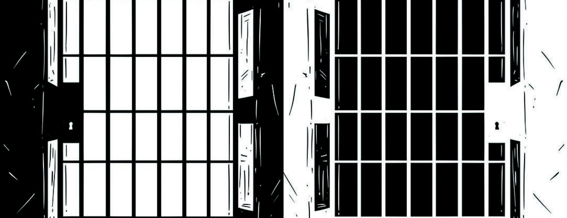 A black and white illustrated rendering of the door of a prison rendered in two parts, with the second inverting the colors of the first