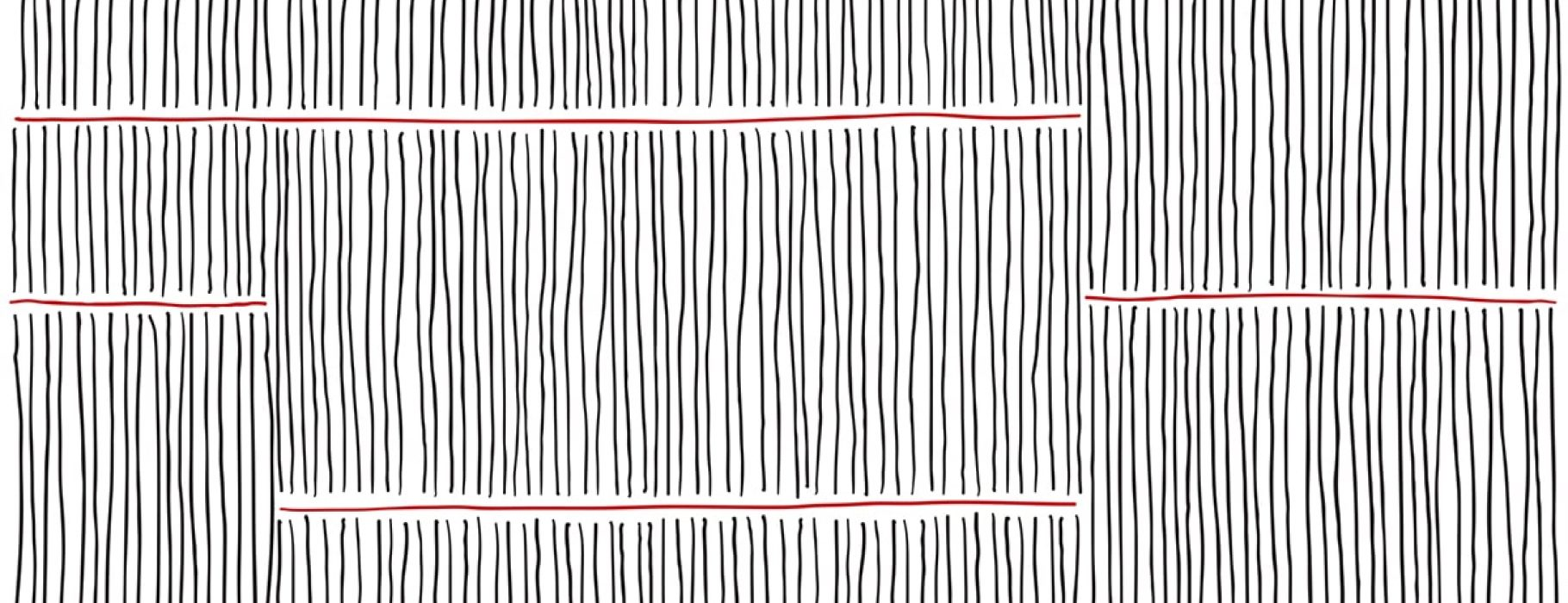An abstract rendering of hand-drawn vertical black lines crossed by a few horizontal red lines