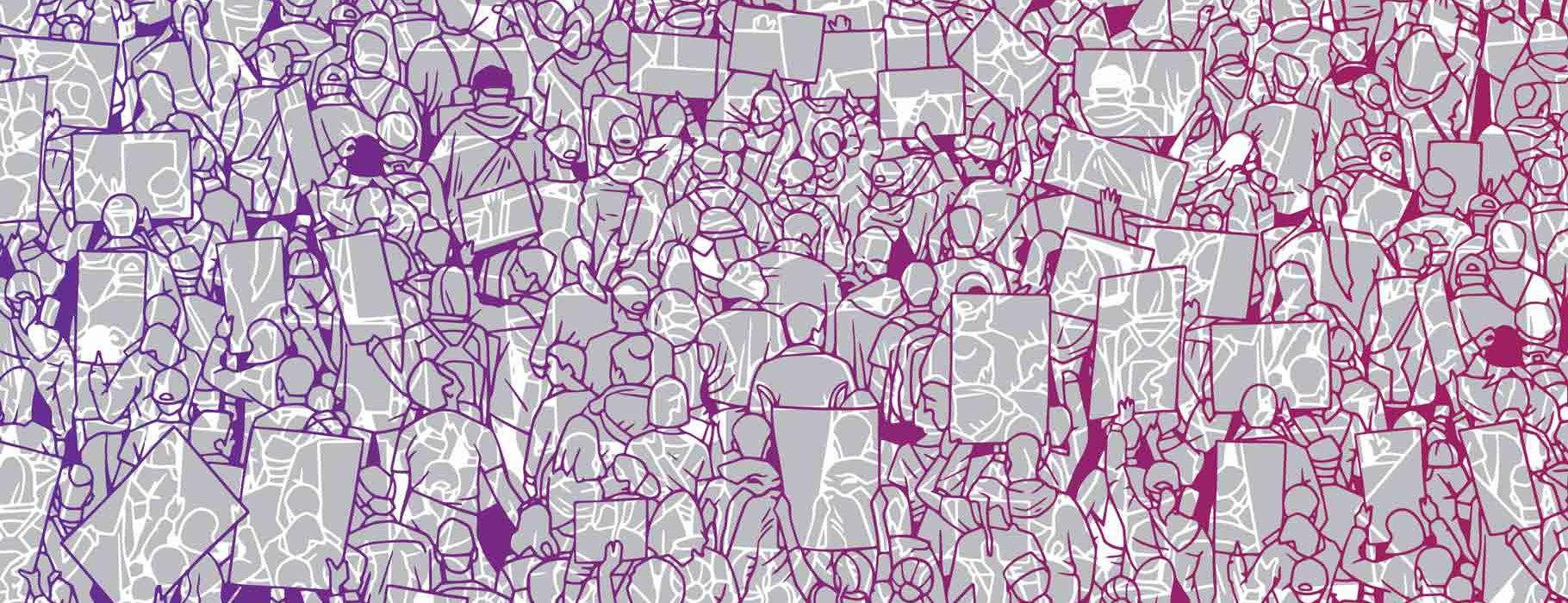 Line Art Illustration of a Mass Protest