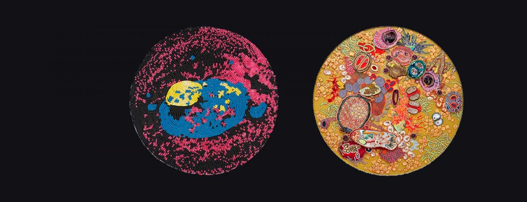 Viruses illustrated with beadwork by the artist Ruth Cuthand