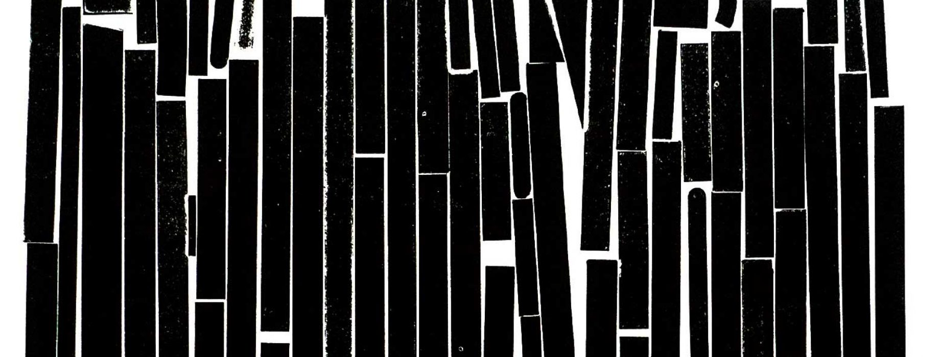 Abstract black and white block print