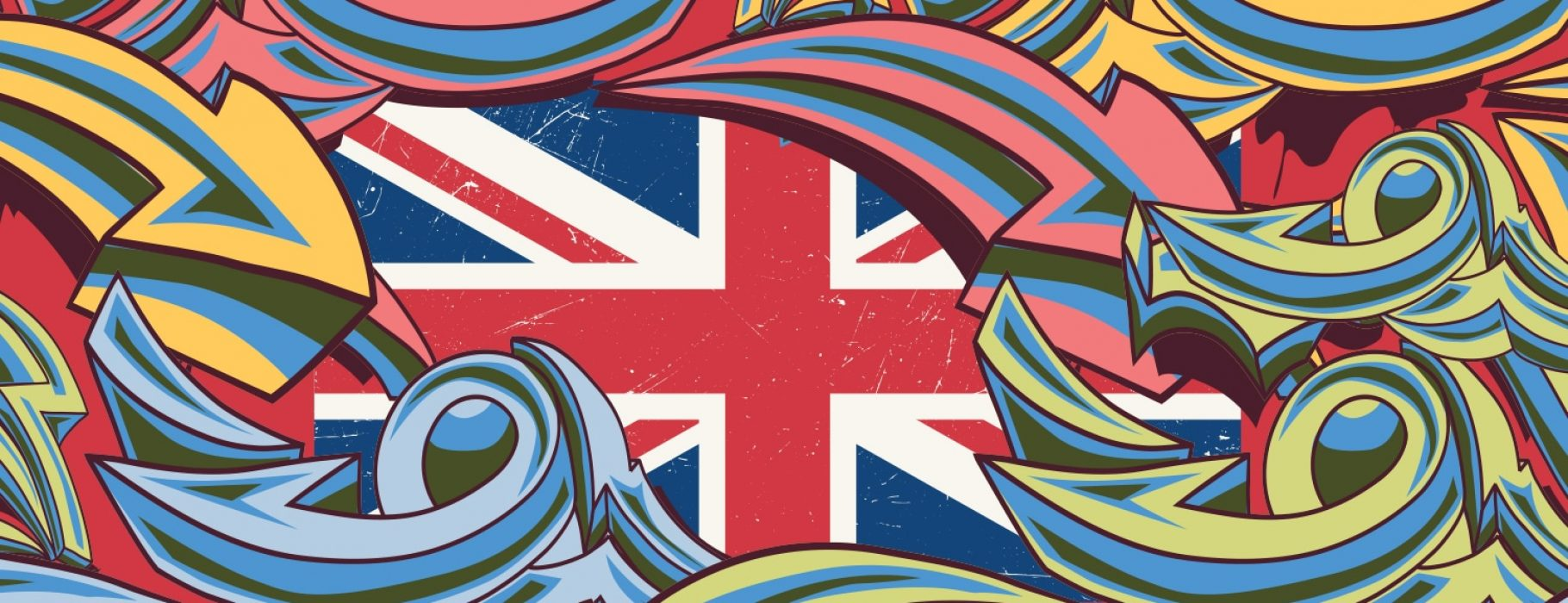 Graffiti-style arrows twist, turn, and point in multiple directions over the flag of the United Kingdom.