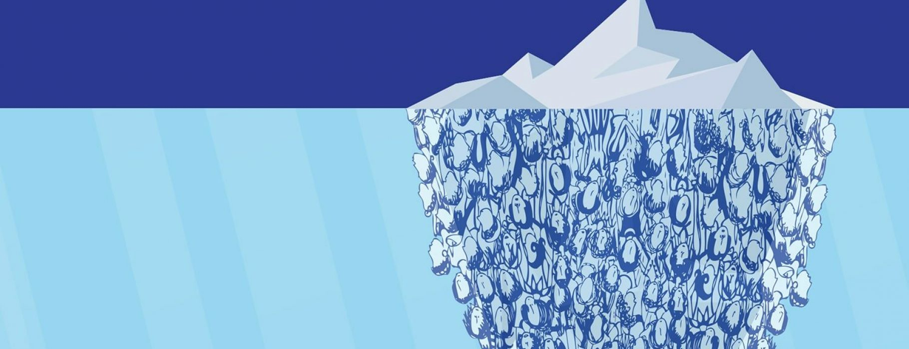 An illustrated side view of an iceberg, where the portion above the water is ice, and the portion below is made up of abstract illustrations of human faces.