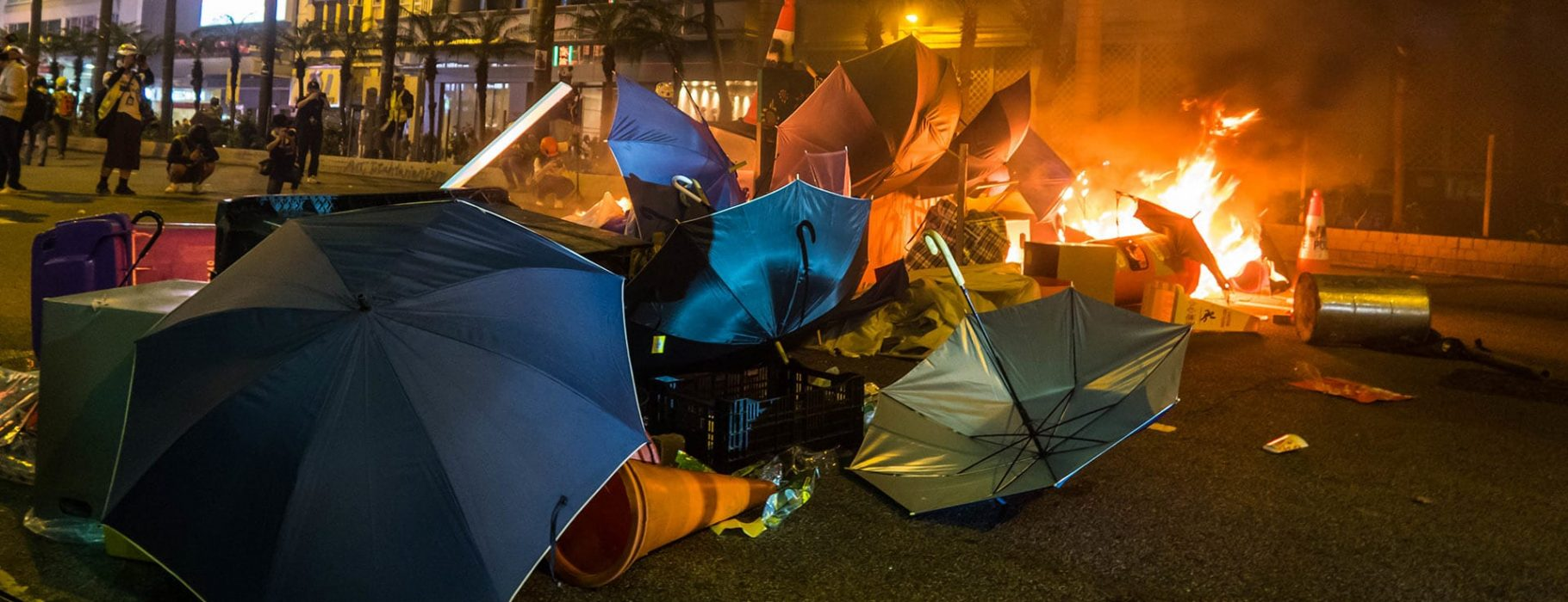 A fire begins at a protest in Hong Kong