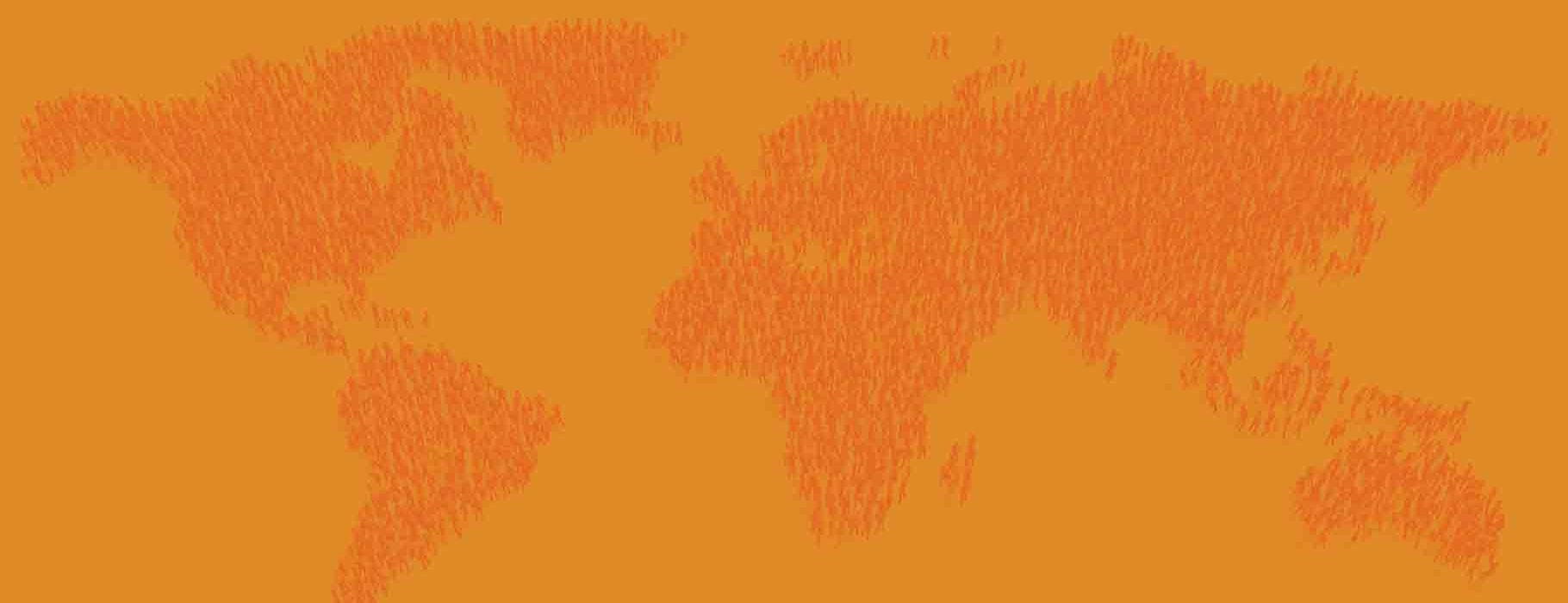 Illustration of people standing in the pattern of a world map
